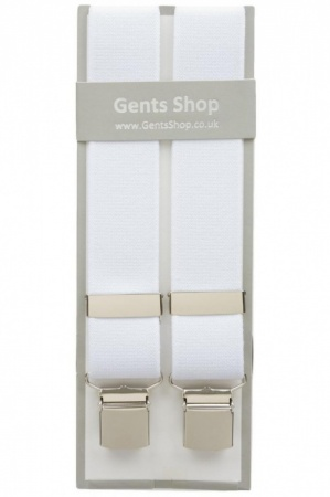 Plain White Elastic Trouser Braces With Large Clips